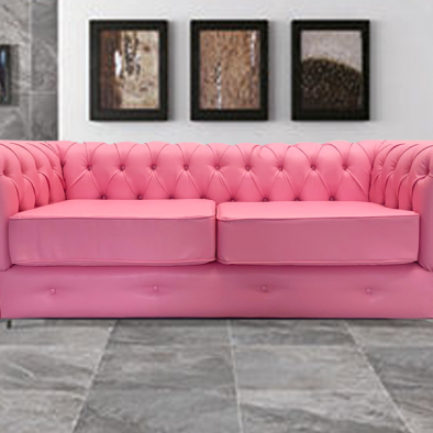 Chesterfield Pink 3 Seater
