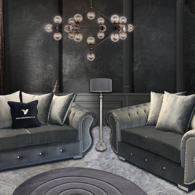 Grey Velvet 3 + 2 Seater Sofa
